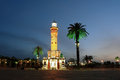 Night place with clocktower in izmir and palms Royalty Free Stock Images
