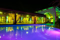 Night pool side of rich hotel Royalty Free Stock Photo