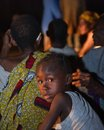 Night portrait the girl from the village of pygmies. Royalty Free Stock Photo