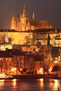 Night prague gothic castle with charles bridge czech republic Royalty Free Stock Photo