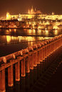 Night prague gothic castle with charles bridge czech republic Stock Photo