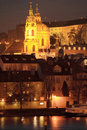 Night prague st nicholas cathedral in the night czech republic Stock Photo