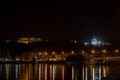 Night quay in kiev dnieper river the saint andrew s church Royalty Free Stock Photography