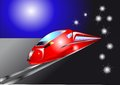 Night quick train red in the road Royalty Free Stock Photos