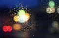Night rainy car window Stock Photo