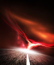 Night road. Sky with Flash. Royalty Free Stock Images