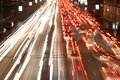 Night road at with traffic trails and blurred lights Royalty Free Stock Photography