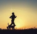 Night Runner With Dog