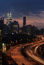 Night scape in kuala lumpur city beautiful at Stock Photo