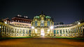 The night scape of Zwinger palace front gate in Dresden Germany Eurpoe Royalty Free Stock Photo