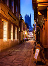 Night scene alley canterbury cathedral tower background Royalty Free Stock Image