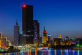 NIght scene cityscape of  Tianjin city at Hai he river zone with Royalty Free Stock Photo