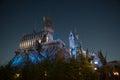 Night scene close up of Hogwarts castle