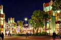 Night scene at disneyland california calofornia bright lights the main street Stock Photo
