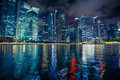 Night scene of financial district Marina Bay in Singapore. Architecture. Royalty Free Stock Photo