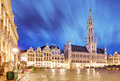 Night scene of the Grand Place, the focal point of Brussels Royalty Free Stock Photo