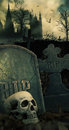 Night scene in graveyard with skull and graves Stock Photography