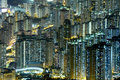 Night scene high density residential hong kong Stock Photos