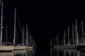 Night scene in a marina with moored yachts, in Lefkada island, Greece Royalty Free Stock Photo
