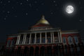Night Scene, Massachusetts State House Stock Image