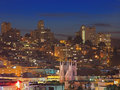 Night Scene of Nob Hill in San Francisco Royalty Free Stock Photo