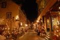 Night scene of Petit Champlain Street, Quebec City Royalty Free Stock Photo
