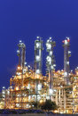 Night scene of petrochemical factory industrial plant with blue sky Royalty Free Stock Photos