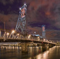 Night scene of Steel Bridge.  Portland, Oregon. Royalty Free Stock Image