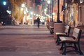 Night scene street in bucharest old city Stock Photos