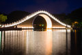 Night scene of a traditional bridge in taipei park taiwan Royalty Free Stock Image