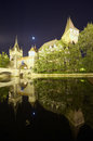 Night scene of vajdahunyad castle in budapest wide view Royalty Free Stock Images