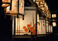 Night scene of votive lanterns at temple japan for ancestor s spirits on the day obon traditional customs japanese life Royalty Free Stock Photos