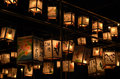 Night scene of votive lanterns at temple japan for ancestor s spirits on the day obon traditional customs japanese life Royalty Free Stock Photography