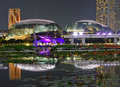 Night scenery of the brightly lit Esplanade Theatres on the Bay at Marina Bay Singapore Royalty Free Stock Photo