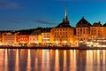 Night scenery of the Old Town in Stockholm, Sweden Royalty Free Stock Photography