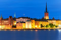 Night scenery of the Old Town in Stockholm, Sweden Stock Photos