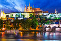 Night scenery of prague czech republic scenic summer panorama the old town architecture with vltava river and st vitus cathedral Stock Image