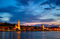 Night scenes of along the danube budapest hungary Stock Photos