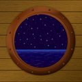 Night sea in a ship window Stock Image