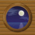 Night sea in a ship window landscape star sky and moon bronze porthole wooden wall eps contains transparencies Stock Photography