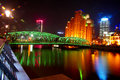 Night shanghai beautiful suzhou river and lujiazui financial center china Royalty Free Stock Photography