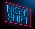 Night shift concept illustration depicting an illuminated neon sign with a Stock Photo