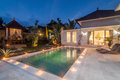 Night shoot Luxury and Private villa with pool outdoor Royalty Free Stock Photo