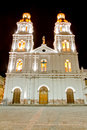 Night shot of a church of Cuenca, Ecuador Royalty Free Stock Photos