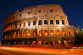 Night shot of the coliseum in rome italy ruins an amphitheater lazio Stock Photo