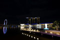 Night shot marina bay sands merlion park Royalty Free Stock Photos