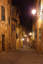 Night in siena view of medieval street italy Stock Photography