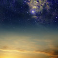 Night skies with clouds stars and nebula Royalty Free Stock Photography