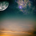 Night skies with moon stars and nebula Stock Images