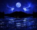Dark Night sky full moon
